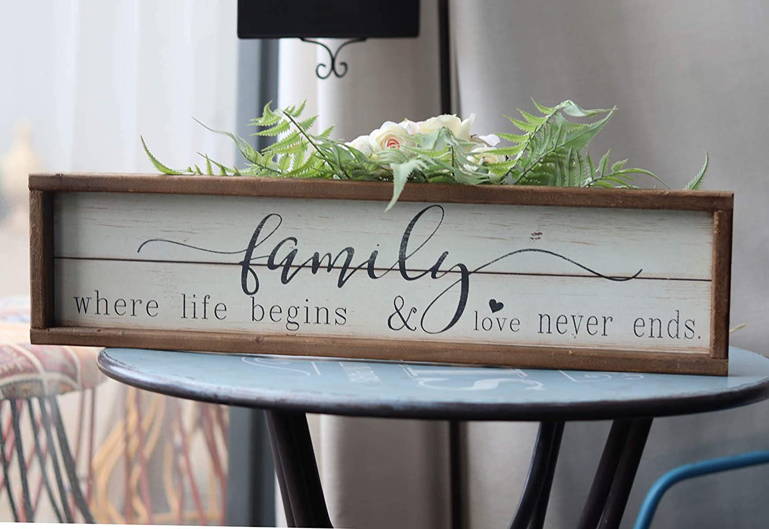 "Farmhouse Rustic Wood Framed Family Wall Decor - Where Family Life Begins & Love Never Ends | Inspirational Wall Sign Wood Plaque for Home Decor | 23.6"" W x 6"" H"