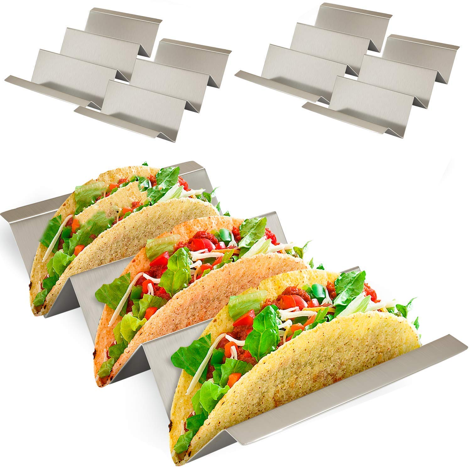 "PLUNACK Taco Holder PLStainless Steel Taco Stand, Taco Truck Tray Style, Rack Holds Up to 3 Tacos Each Oven Safe for Baking, Dishwasher and Grill Safe, 4"" x 8"" (4 PACK)"