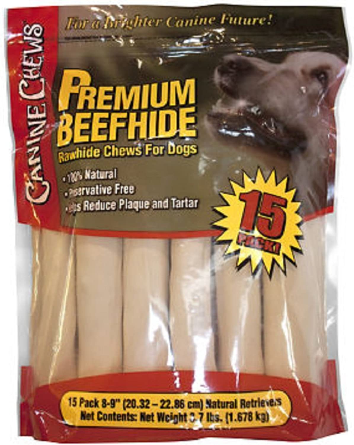 Canine Chews Premium All-Natural Beef Hide Canine Retrievers - 15 pk. - 3.7 lb. by Sam's Club