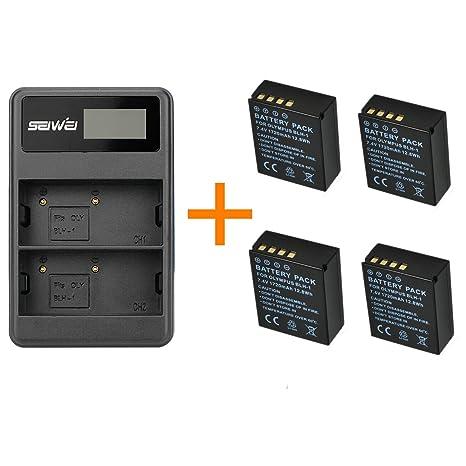 4 piezas 1720mAh BLH-1 BLH1 Batería de la cámara con un solo cargador de batería para cámaras digitales Olympus EM1 MARK II EM1-2 EM1 Mark 2 (4 pcs ...
