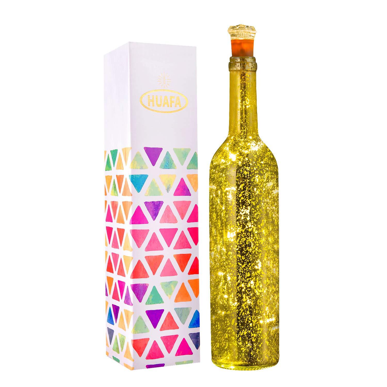 . Flaschen-Licht inbegriffen Angetrieben von 3 St/ück LR44 Batterie HUAFA Weinflaschen Lichter Gold Flasche