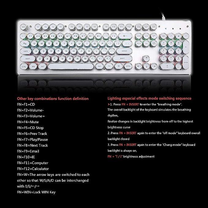RGB Wired Mechanical Keyboard Retro Typewriter 104 Keys