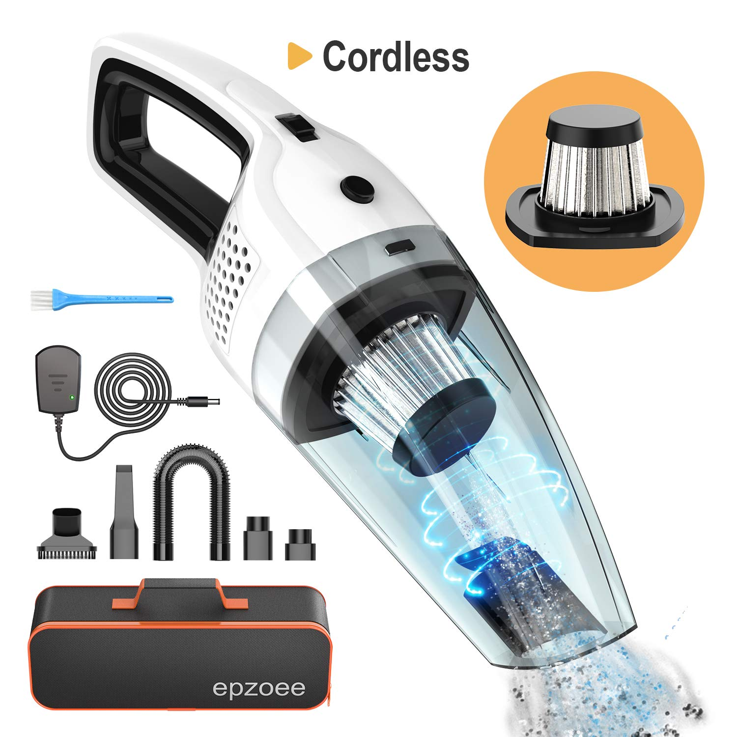 epzoee Handheld Vacuum Cordless,Rechargeable Car Vacuum 4KPA 120W Lightweight Portable Vacuum Wet Dry for Home Pet Hair and Car Cleaning
