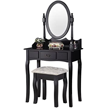 UEnjoy Black Dressing Table Set with Mirror and Stool Shabby Chic ...