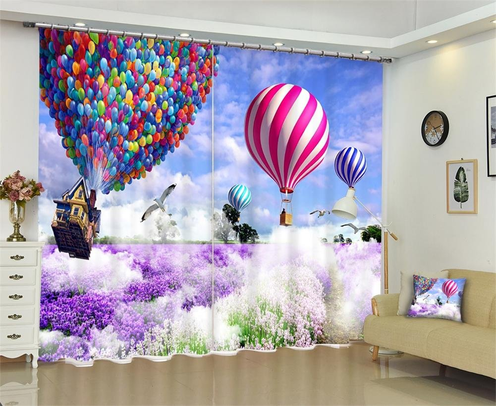 Dbtxwd Children's curtains Polyester 3D Lavender Hot air balloon drape Blackout Panel Curtain Bedroom living room Darkening Window Drapes , wide 2.03x high 1.6