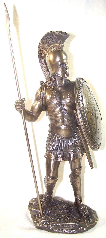 Greek Spartan Warrior with Spear and Hoplite Shield, Bronze finish