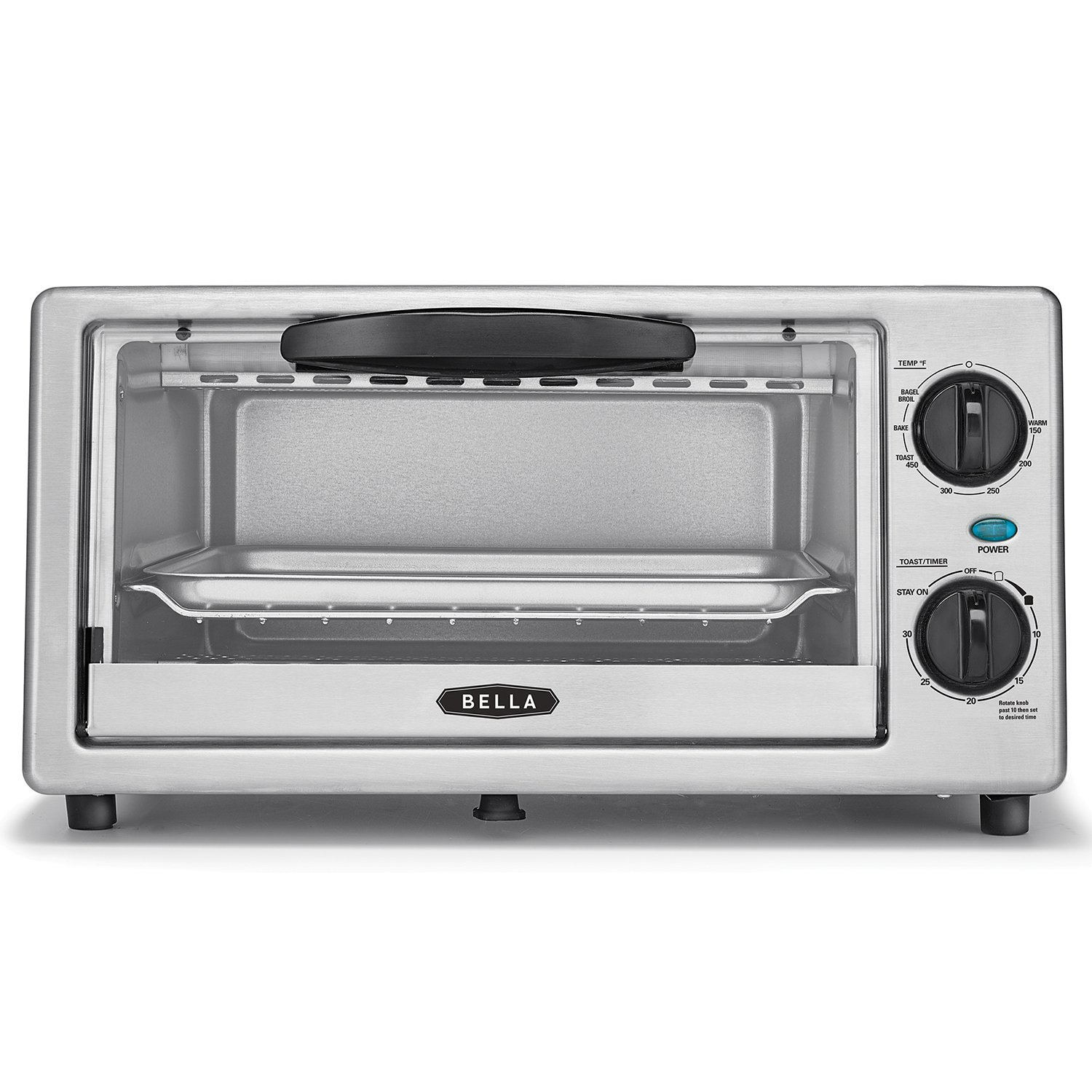 BELLA 4 Slice Countertop Toaster Oven, 1000 Watt Quartz Element