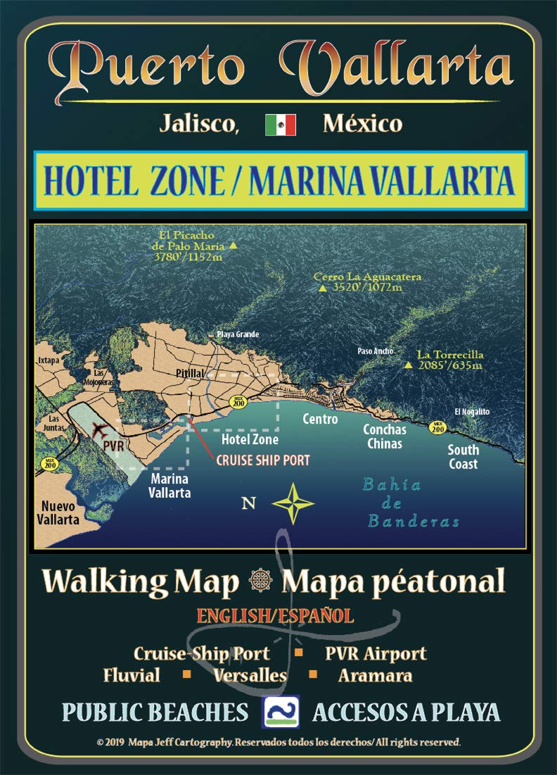 Puerto Vallarta Walking Map: Hotel Zone & Marina Vallarta ...