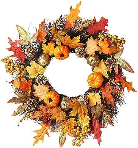 Halloween Maple Berry Pumpkin Halloween Wreath Garland Door Decor