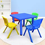Kid's Adjustable Mixed Square Table with 4 Chairs Set With Blue Table
