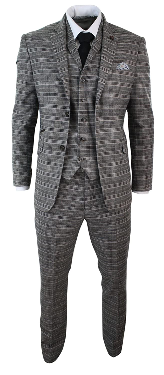 Men's Vintage Style Suits, Classic Suits Mens Grey Black Check Herringbone Tweed Vintage Retro Tailored Fit 3 Piece Suit Smart $142.99 AT vintagedancer.com