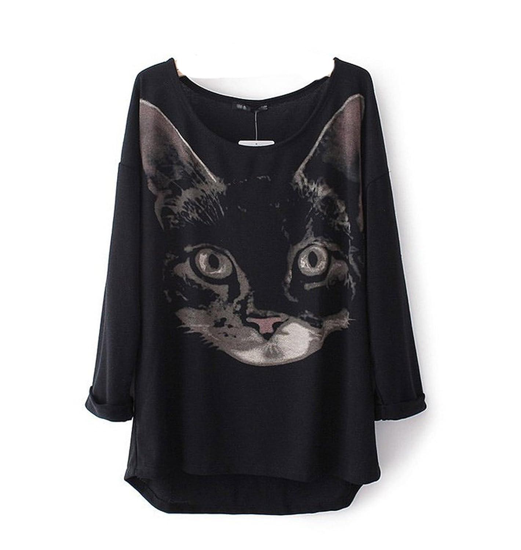 WIIPU Women Black Cat Head Printed Turn up Cuff sweatshirt Pullover T shirt(J139)