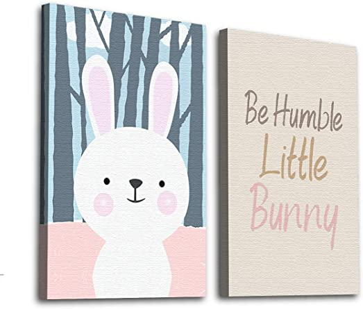 Amazon Com Be Humble Wallpaper Baby Room Art Bunny Picture Baby Girl Room Decor Cute Bunny Canvas Baby Boy Room Bunny Set Of 2 Art Clothing
