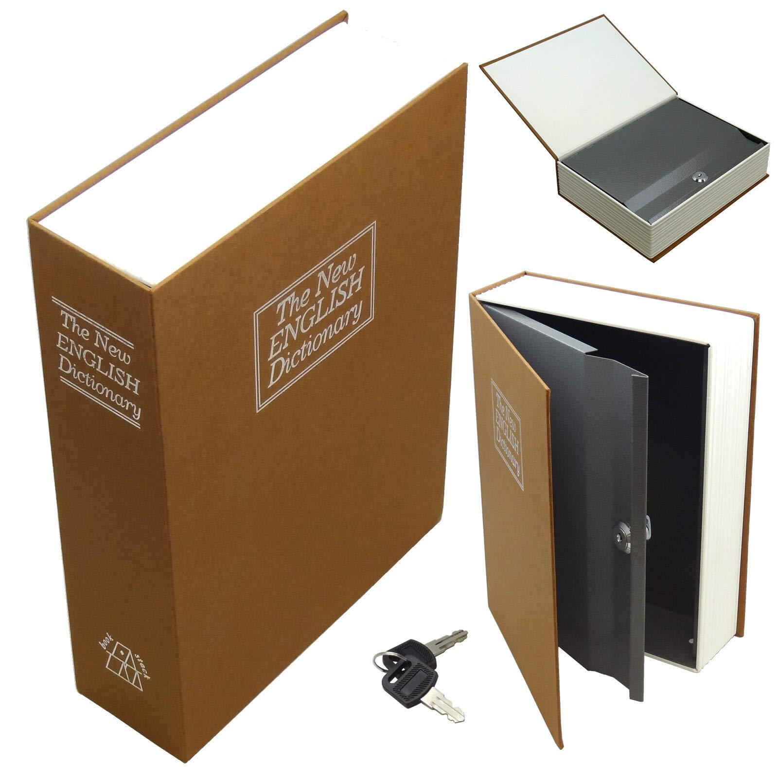 Xnonix Dictionary Diversion Book Safe w/Key Lock ~ Metal ~Brown (Medium)