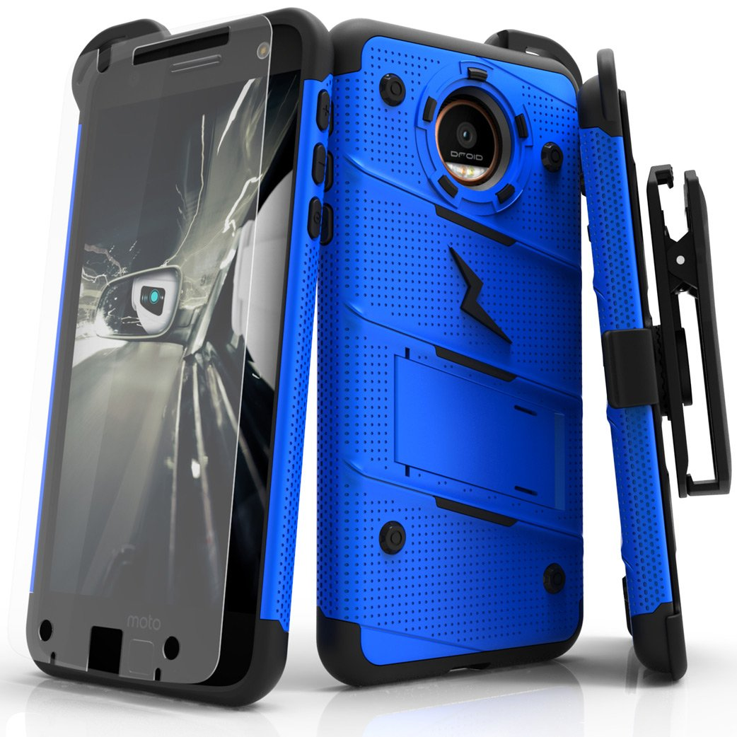 reputable site 4ed45 eb28b Zizo Bolt Series Compatible with Motorola Moto Z Case Military Grade Drop  Tested with Tempered Glass Screen Protector, Holster Blue Black