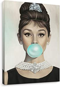 Niwo Art - Audrey Hepburn Tiffany Blue Bubble Gum, Celebrity Canvas Wall Art Home Decor, Gallery Wrapped, Stretched, Framed Ready to Hang (16