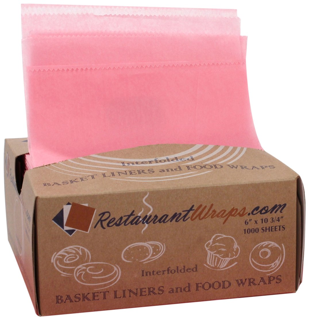 RestaurantWraps.com Interfolded Waxed Tissue, Basket Liner and Food Wrap, 6'' x 10.75'', Pink (10 Packs of 1000 Sheets)