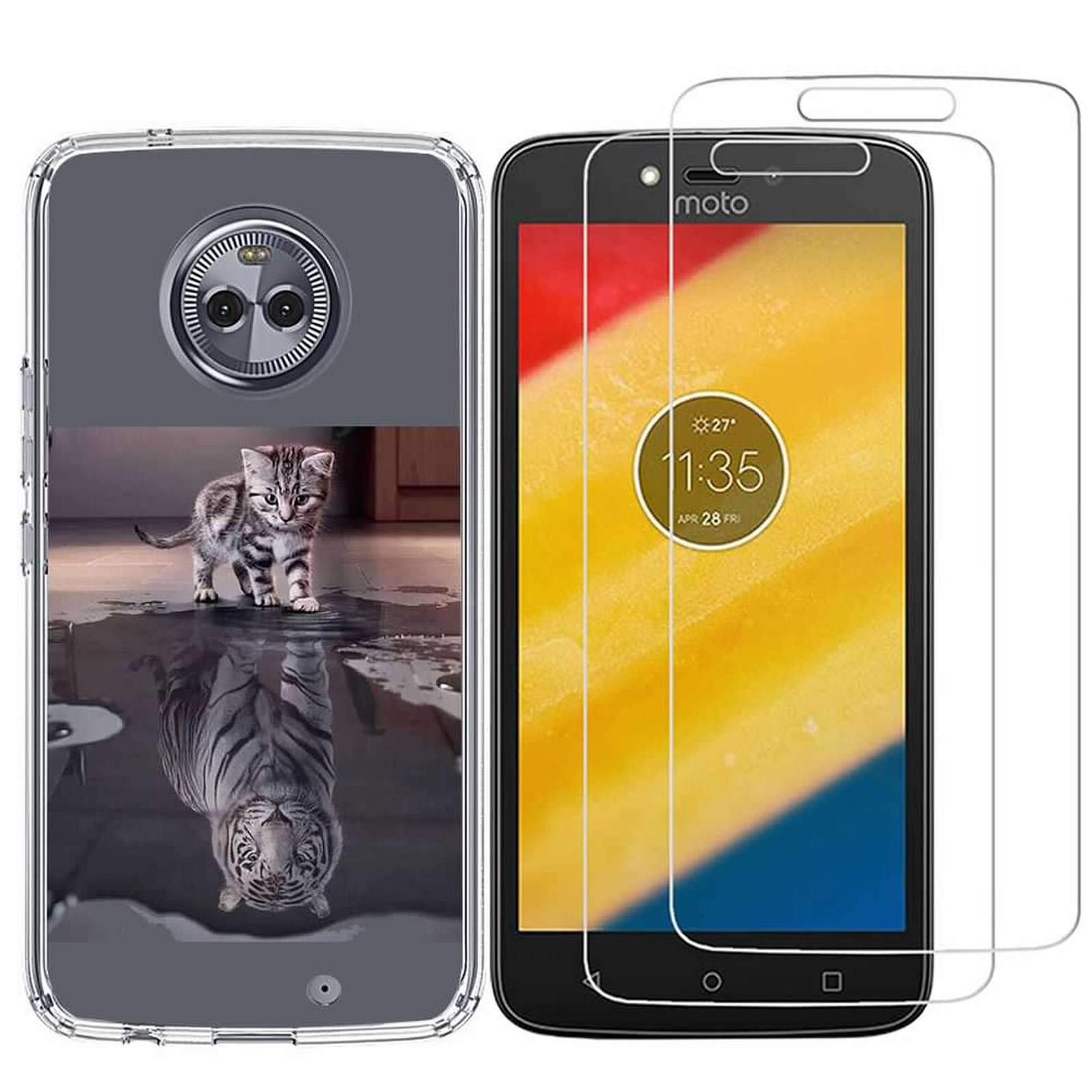 Motorola Moto Z3 Case with 2 Pack Glass Screen Protector Phone Case for Men Women Girls Clear Soft TPU with Protective Bumper Cover Case for Moto Z3 / Moto Z3 Play (2018)-Cat