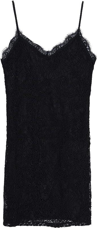 Zara 2878/806 - Vestido de Encaje para Mujer Negro L: Amazon ...