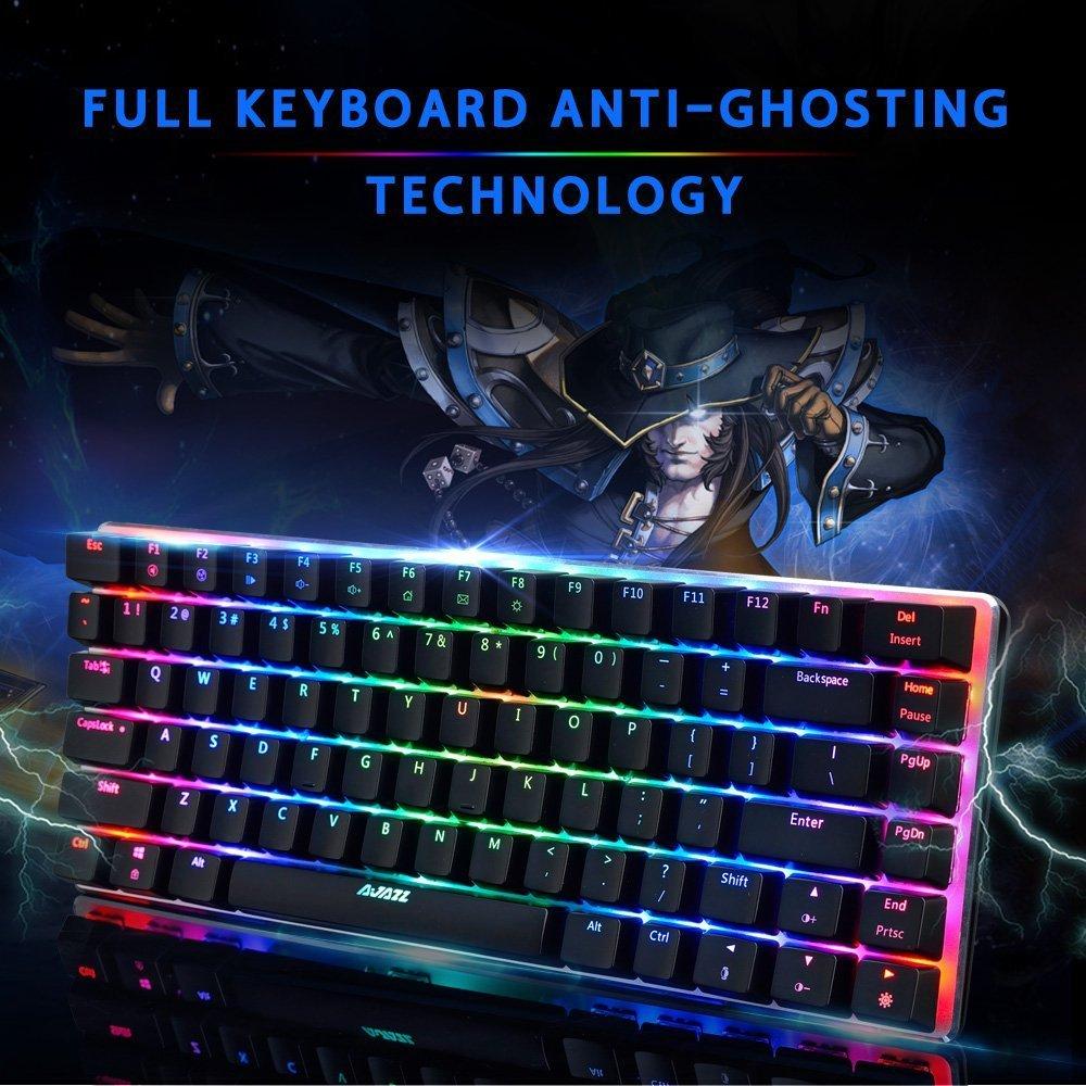 Teclado mecánico Gaming para Juegos, Ajazz AK33 Teclado retroiluminado RGB con 82 Teclas, Switch Azul Anti-Fantasma Multimedia con Cable Teclado ergonómico ...