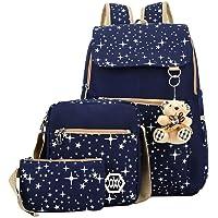 Kız çocuk Canvas sırt çantası-set 3-parça desenli okul çantası Laptop okul sırt çantası