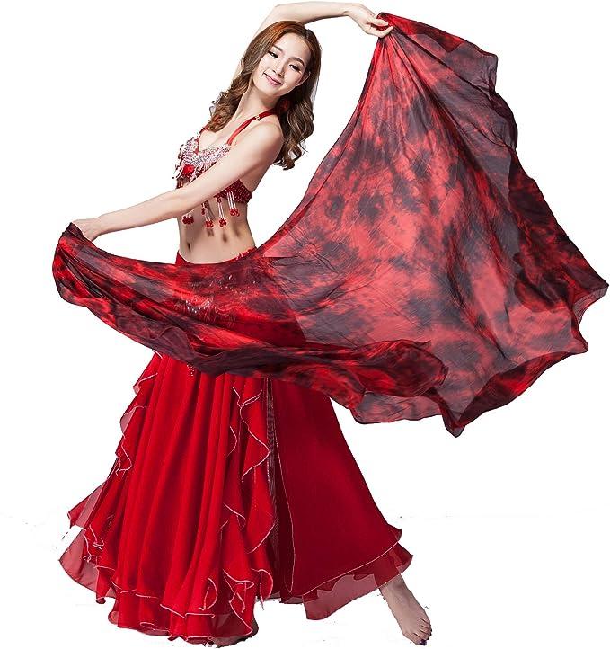 5.0 M//M HAND MADE TIE-DYE BELLY DANCE 100/% SILK VEILS black red  88999