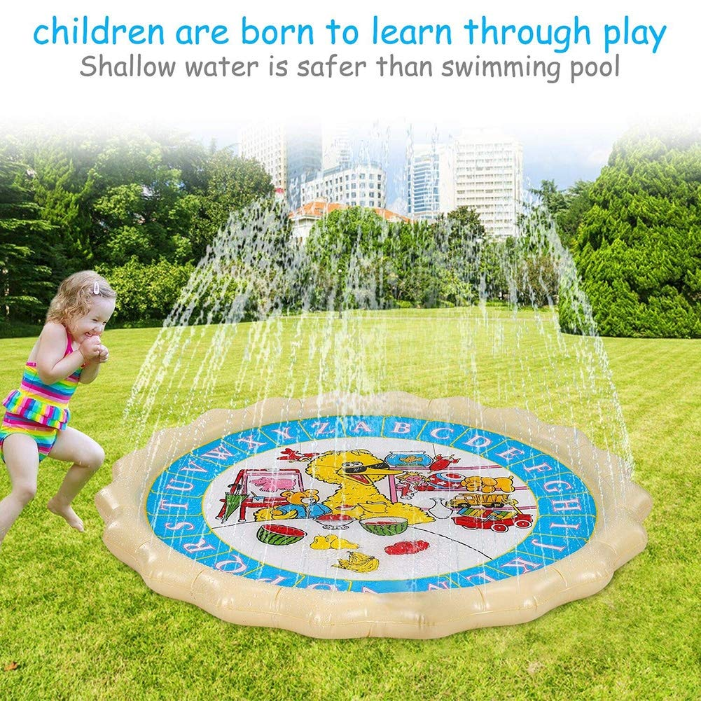 FLH Kids Outdoor Water Spray Pad, Splash Play Mat for Learning, Inflatable Water Toys for Boys and Girls-from A to Z Outdoor Swimming Party Sprinkler Pool for Toddlers and Children