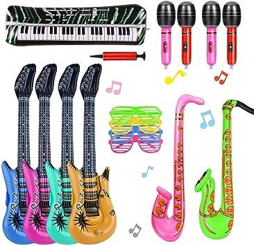 Ucradle 16 Piezas Inflables de Juguete, Inflable Guitarra/Micrófonos/ Teclado de Piano/Saxofón/Gafas/Conjunto de Instrumentos Musicales, Accesorios de Fiesta inflables Decoraciones para niños/ Adultos: Amazon.es: Juguetes y juegos