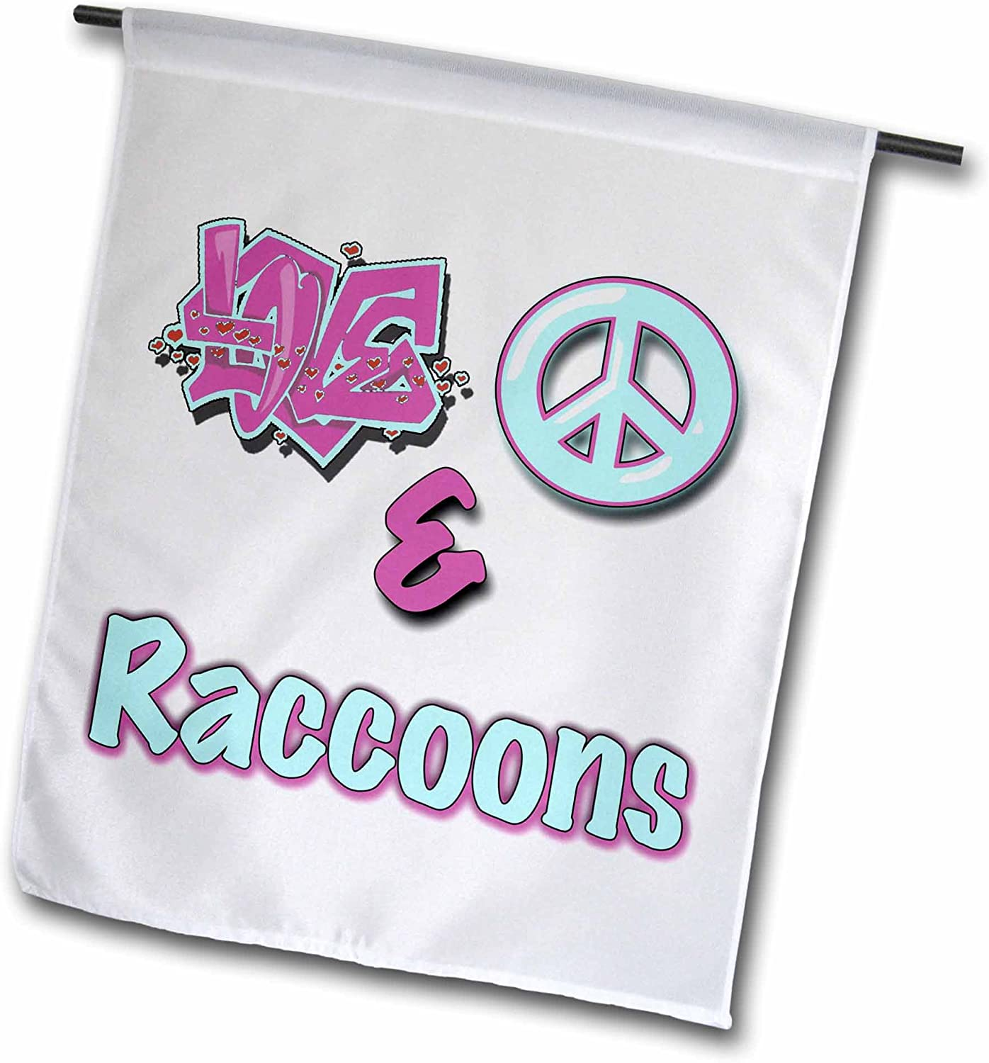 3dRose Blonde Designs Animals Love Peace and in Pastels - Love Peace and Raccoons in Blue and Purple - 12 x 18 inch Garden Flag (fl_122928_1)