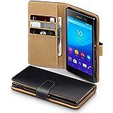 Sony Xperia M5 Case, Terrapin Handy Leder Brieftasche Case Hülle mit Kartenfächer für Sony Xperia M5 Hülle Schwarz mit Hellbraun Interior