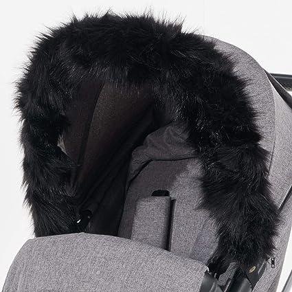 Dark Grey For-Your-Little-One Fur Hood Trim Pram Compatible on Little Shield