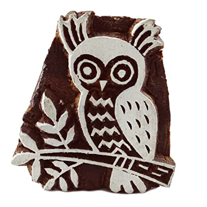 Owl Wooden Block Design Hand Block Textile Print Floral