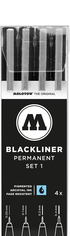 Molotow MO200486- Penna blackliner, nera Set 3 11er Set Nero MO200485