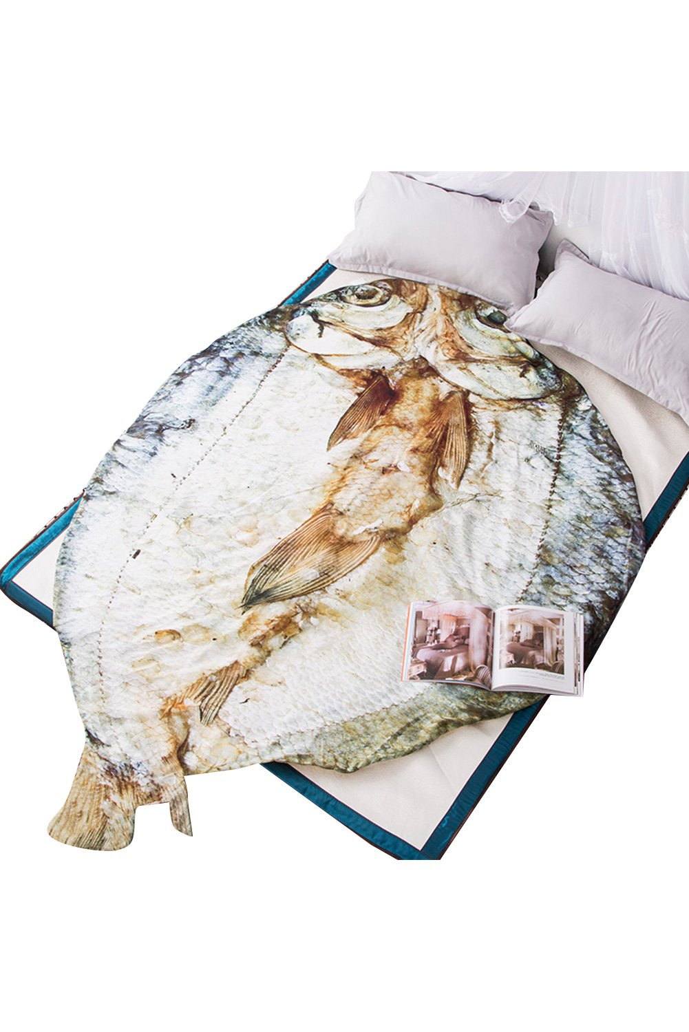 Getime 3D Animal Prints Blanket Bedding Fish Shaped Summer Quilt Fish Comforter Washable Light Quilt