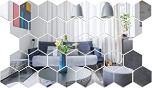 36 Pieces Removable Acrylic Mirror Setting Wall Sticker Decal for Home Living Room Bedroom Decor (4 x 3.4 x 2 inch)
