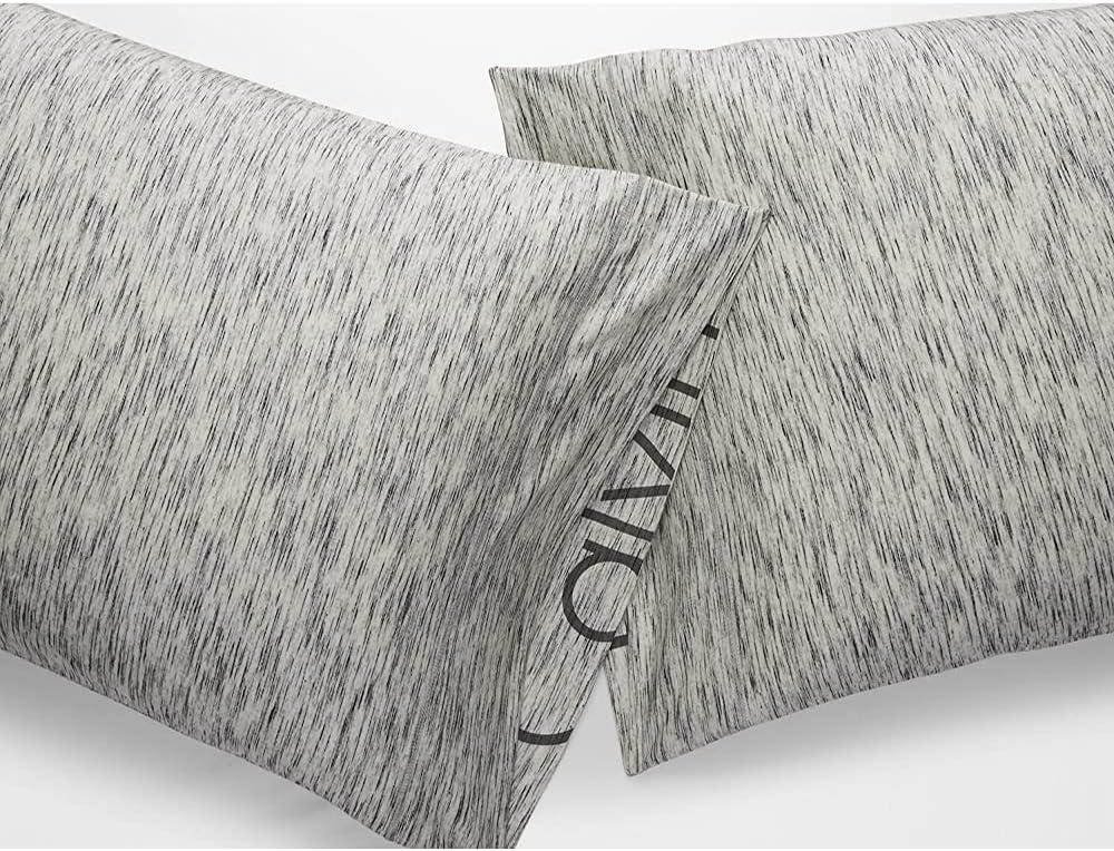 Calvin Klein Modern Cotton STRATA Bedding, King Pillowcase Pair, Marble, 2 Piece