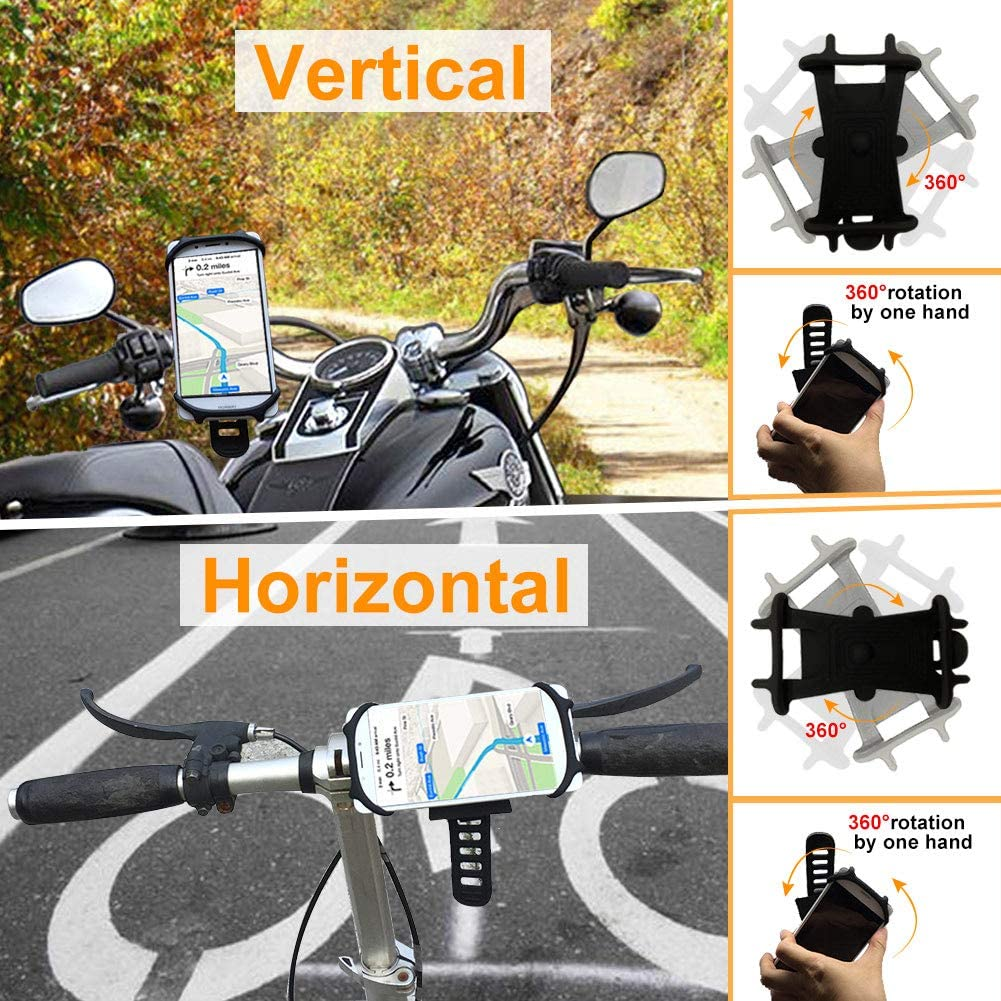 """Lushibo Bike Phone Mount 360/° Rotation for 4.5/""""~7.0/"""" Cell Phone,Flexible Thicken Silicone Motorcycle Phone Holder for Cycling GPS Navigation for iPhone 11//XS//XR//8//7//6//SE,Samsung S10//S9//S8 /& more-Black"""
