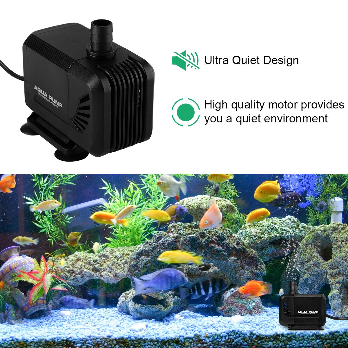 KEDSUM 550GPH Inline//Submersible Water Pump 6 Nozzles for Fish Tank Aquarium 2100L//H, 35W Pond Hydroponics Ultra Quiet Water Pump with 6.5ft High Lift Fountain Pump with 6.5ft Power Cord