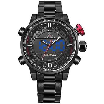 WEIDE analógico Digital watch-men de moda negocio clásico reloj de pulsera de acero inoxidable