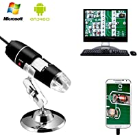 YOMYM 40 to 1000x Magnification Endoscope, 8 LED USB 2.0 Digital Microscope, Mini Camera with OTG Adapter and Metal Stand, Compatible with Mac Window 7 8 10 Android Linux