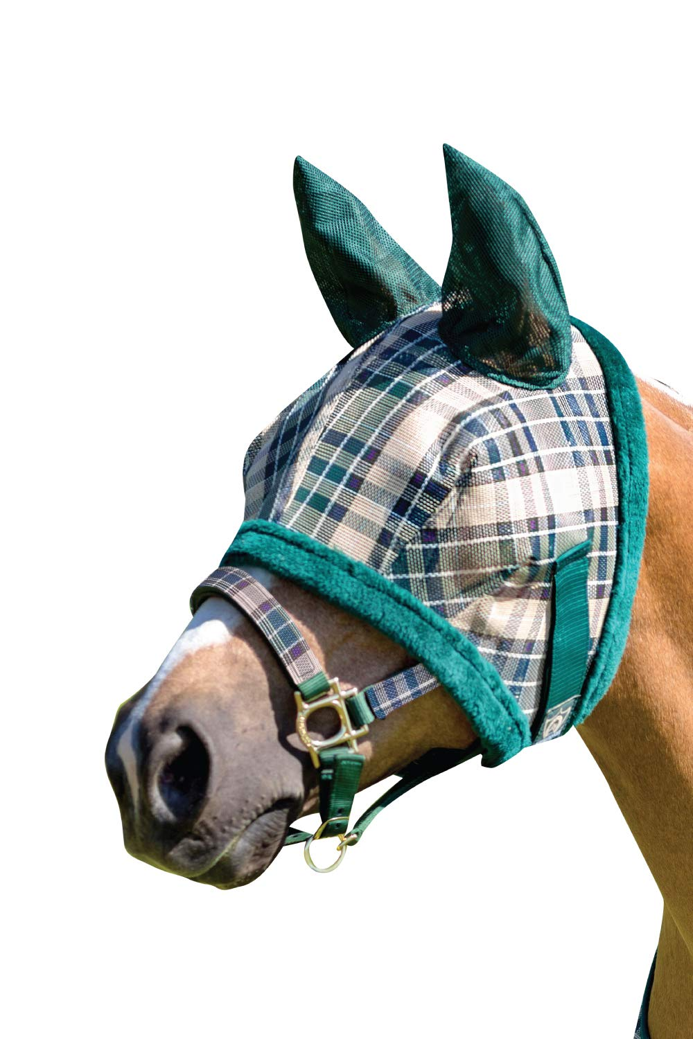 Kensington Fly Mask with Fleece Trim and Soft Ears - Allows Full Visibility with Maximum Protection -With Double Locking System - UV Protection (Large, Deluxe Hunter Plaid) by Kensington Protective Products