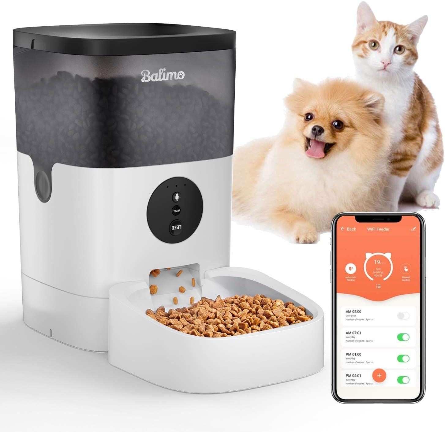 Balimo 4L 2.4G WiFi Comedero automatico gatos y perros con 10S función de grabación de sonido con temporizador y control remoto de la aplicación