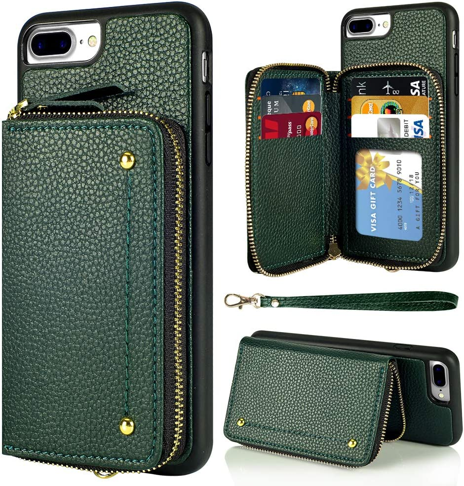 LAMEEKU Wallet Case for iPhone 7 Plus and 8 Plus, Zipper Leather Case with Credit Card Holder Slot Wrist Strap, Anti-Scratch Shock Protective Cover Case for iPhone 7 Plus / 8 Plus 5.5''-Midnight Green