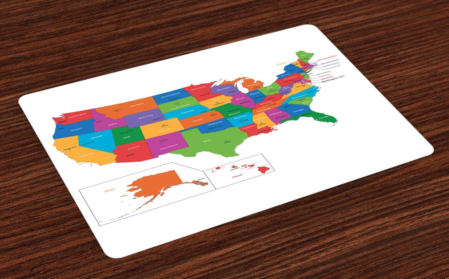Ambesonne Wanderlust Place Mats Set of 4, Colorful USA Map with States and Capital Cities Washington Florida Indiana Print, Washable Fabric Placemats for Dining Room Kitchen Table Decor, White Green