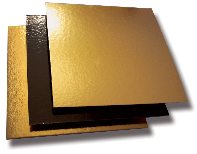 Cuisineonly, quadrato, in cartone, colore: nero/oro-50 unites, 18 x 18 cm, .. cucina: Cartonaggi (monouso)