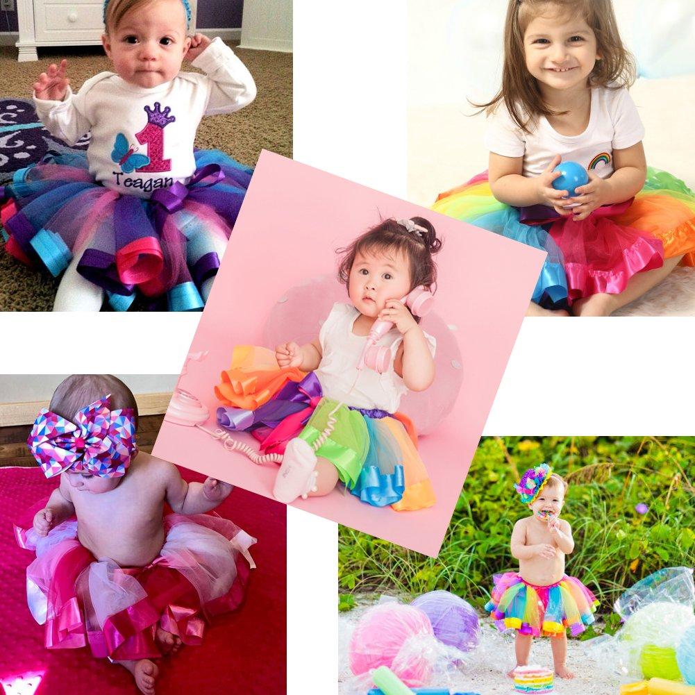 Bingoshine Layered Tulle Rainbow Tutu Skirt for Newborn Baby Girls Photography Outfit Sets Dress up with Colorful Headband (Purple Rainbow, S,0-24 Months) by Bingoshine (Image #5)