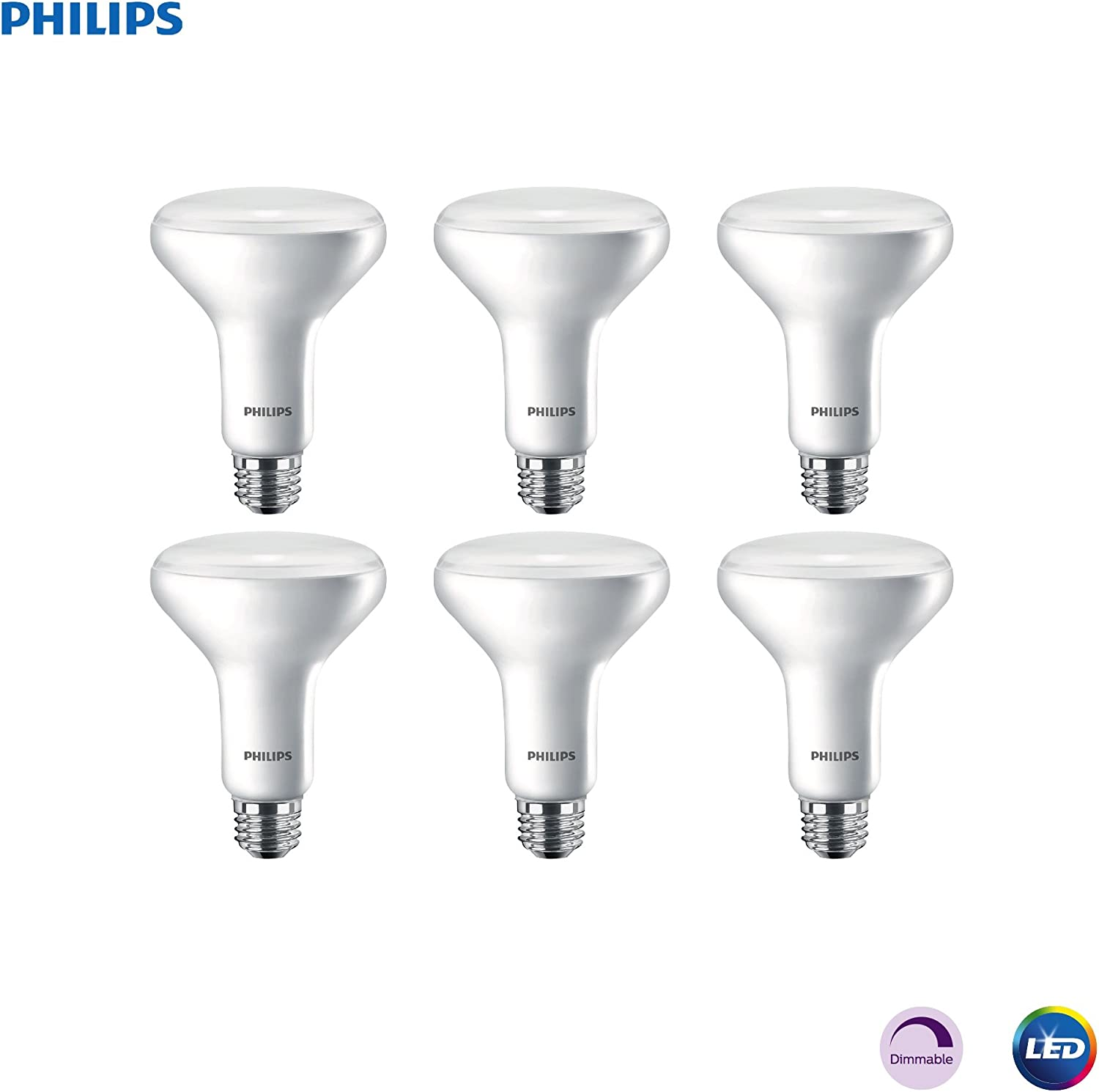 Philips LED Dimmable BR30 Light Bulb: 650-Lumen, 2700-Kelvin, 11-Watt (65-Watt Equivalent) E26 Base, Frosted, Soft White, 6-Pack