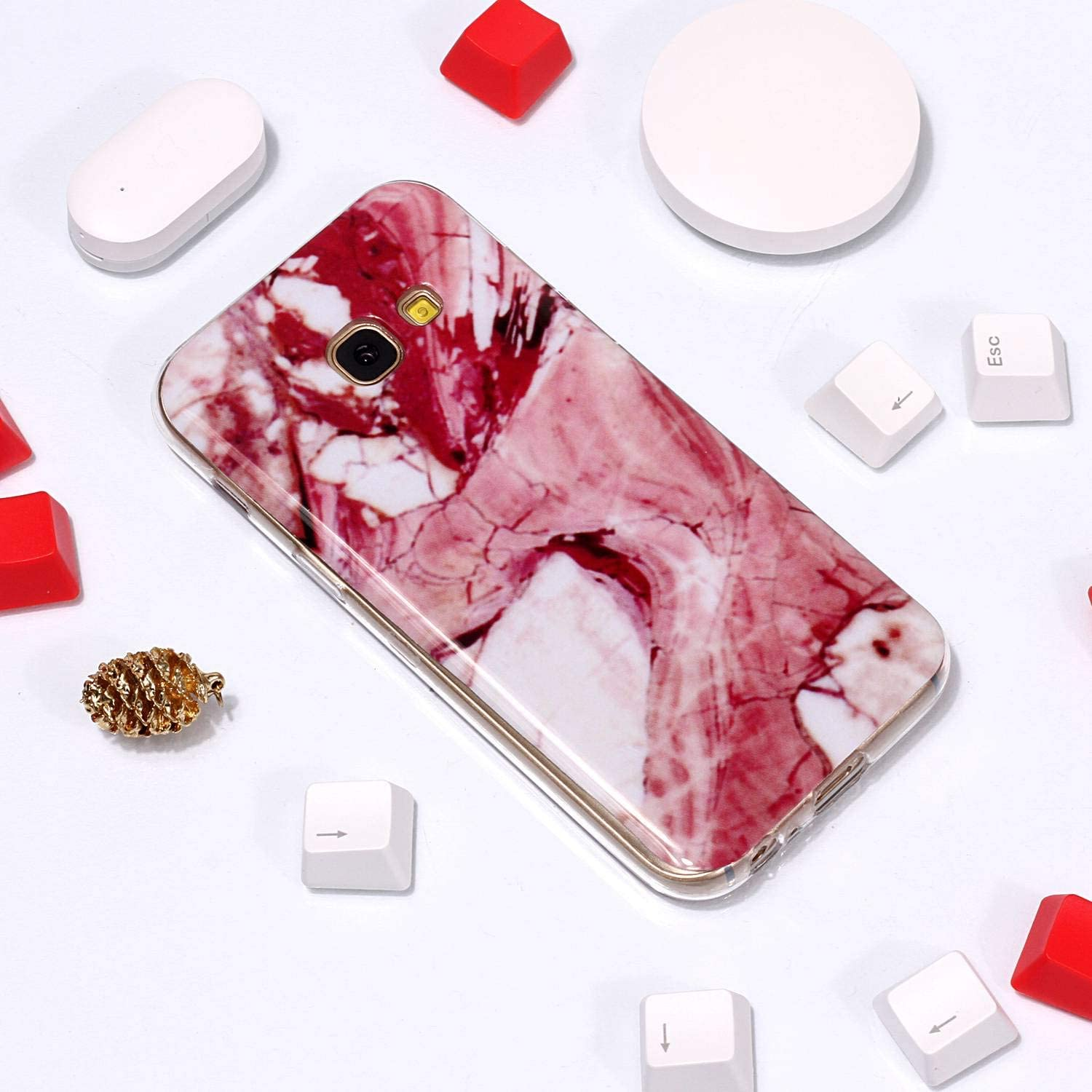 for Samsung Galaxy A5 2017 Marble Case and Screen Protector,Unique Pattern Design Ultra Thin Slim Fit Soft Silicone Phone Case Bumper,QFFUN Shockproof Anti-Scratch Protective Back Cover Brown