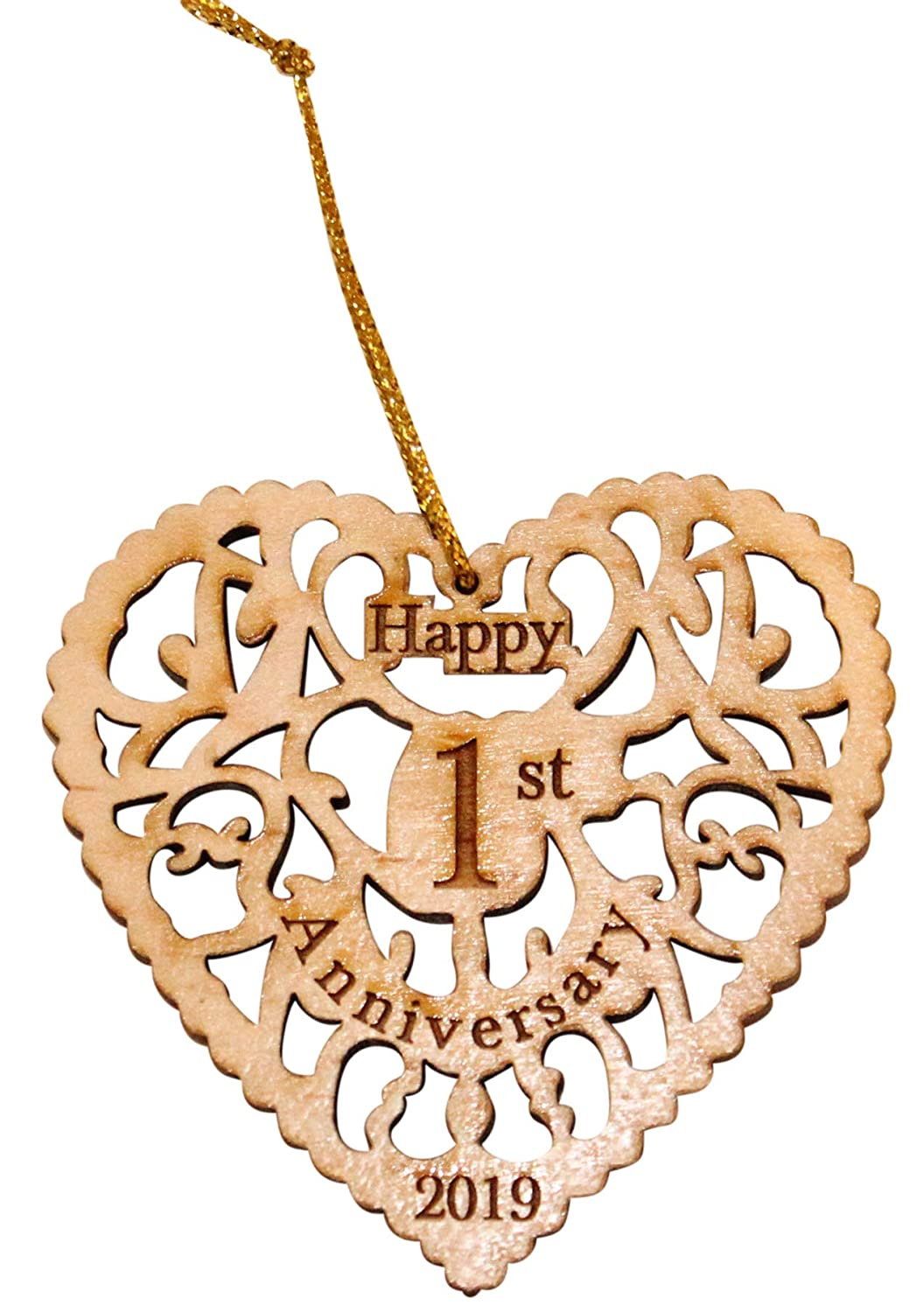 Buy Twisted Anchor Trading Co 1st Anniversary Ornament 2019 Heart Shaped Happy Anniversary Ornament Beautiful Laser Cut Wood Detail Comes In A Organza Gift Bag So It S Ready To