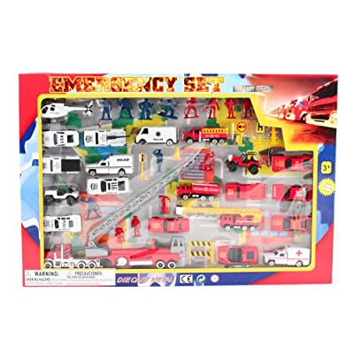 Emergency Fire Rescue First Responder Die Cast Trucks Mini Toy Vehicle Play Set: Toys & Games